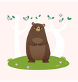 brown bear standing in forest vector image vector image