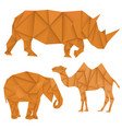brown rhinoceros elephant and camel polygonal vector image