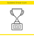 champion cup linear icon vector image