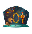circus trainer and linon in fire circle vector image vector image