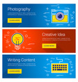 creative idea photography writing content line vector image vector image