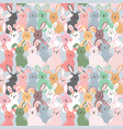 cute colorful rabbits seamless pattern on pastel vector image vector image
