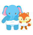 cute little elephant with fox babies characters vector image