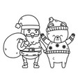 cute santa with bag and polar bear merry christmas vector image vector image