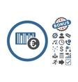 Euro Barcode Flat Icon With Bonus vector image vector image