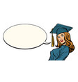 female graduate comic book bubble vector image vector image