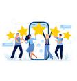 five stars mobile app feedback customers vector image