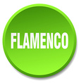 flamenco green round flat isolated push button vector image vector image