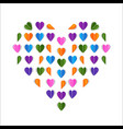 folded paper hearts valentines day card colorful vector image vector image