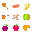 fruit filling icons set cartoon style vector image vector image
