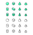 geometric shapes in isometry icon set vector image