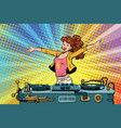 girl dj club party youth lifestyle vector image