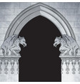 gothic arch with gargoyles hand drawn frame vector image