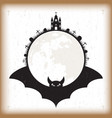 halloween bat and moon vintage paper vector image