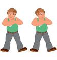 Happy cartoon man standing in green sleeveless top vector image vector image