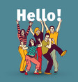 hello sign team group business people vector image vector image
