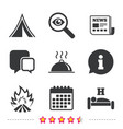 Hot food sleep camping tent and fire signs