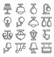 lamp icons set on white background line style vector image vector image