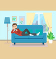 man on sofa with smartphone flat style vector image