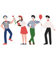 mimes man and woman pantomime vector image