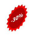 minus 30 percent sale red emblem icon isometric vector image vector image