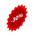 minus 30 percent sale red emblem icon isometric vector image