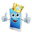 mobile phone cartoon king vector image vector image