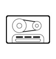 music cassette vintage symbol in black and white vector image