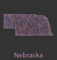Nebraska line art map vector image vector image