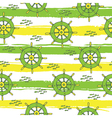 pattern with anchor and fish stripes green yellow vector image vector image