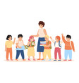 pupils and teacher happy kids and female teacher vector image