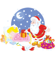 Santa with gifts for a child vector image vector image