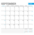 september 2020 square monthly calendar planner vector image