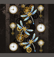 steampunk dragonflies vector image