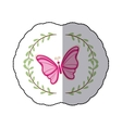 sticker arch of leaves with pink butterfly vector image vector image