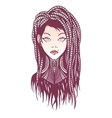 Stylish girl with dreadlocks tattoo and piercing vector image vector image