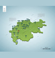 stylized map switzerland isometric 3d green vector image vector image