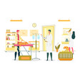 surgeons and nurse in veterinary operating room vector image vector image