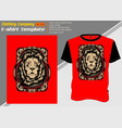 t shirt template with lionhand drawing vector image vector image
