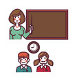 teacher near blackboard and pupils above graphic vector image vector image