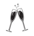 two sparkling glasses champagne or wine cheers vector image vector image