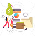 two woman standing with money and smart phone vector image