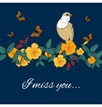 Vintage flowers background with bird vector image