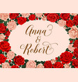 wedding invitation with rose flower frame border vector image vector image