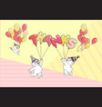 word thanks cute bears with balloons vector image