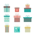 set flat gift icons isolated vector image