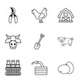 agriculture stuff icons set outline style vector image vector image