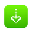 anchor icon digital green vector image vector image