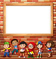 Border design with many children vector image vector image