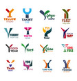 business icons with letter y for branding isolated vector image